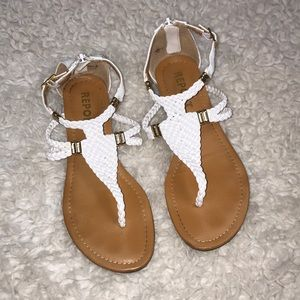 White Report Sandals size 6